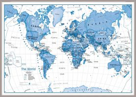 Large Children's Art Map of the World Blue (Pinboard & framed - Silver)