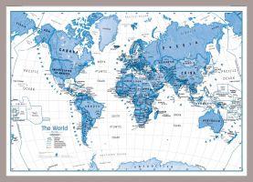 Medium Children's Art Map of the World Blue (Pinboard & framed - Silver)