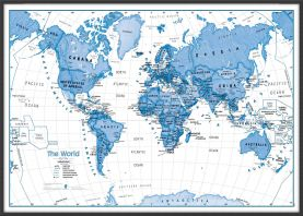 Large Children's Art Map of the World Blue (Wood Frame - Black)