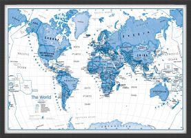 Medium Children's Art Map of the World Blue (Wood Frame - Black)
