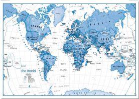 Huge Children's Art Map of the World Blue (Pinboard)