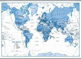 Large Children's Art Map of the World Blue (Hanging bars)