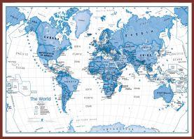 Huge Children's Art Map of the World Blue (Pinboard & framed - Dark Oak)