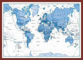Medium Children's Art Map of the World Blue (Pinboard & framed - Dark Oak)