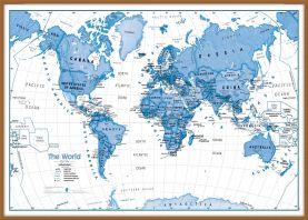 Large Children's Art Map of the World Blue (Wood Frame - Teak)