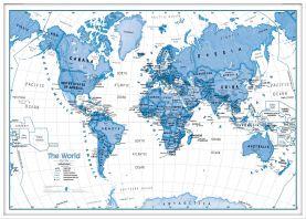 Large Children's Art Map of the World Blue (Wood Frame - White)