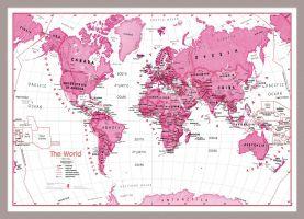 Medium Children's Art Map of the World Pink (Pinboard & framed - Silver)