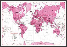 Large Children's Art Map of the World Pink (Wood Frame - Black)