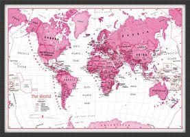Medium Children's Art Map of the World Pink (Wood Frame - Black)
