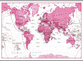 Large Children's Art Map of the World Pink (Hanging bars)