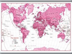 Medium Children's Art Map of the World Pink (Hanging bars)