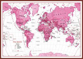 Large Children's Art Map of the World Pink (Pinboard & framed - Dark Oak)
