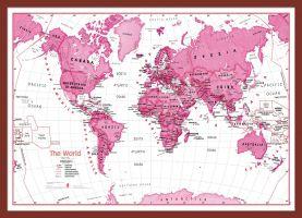 Medium Children's Art Map of the World Pink (Pinboard & framed - Dark Oak)