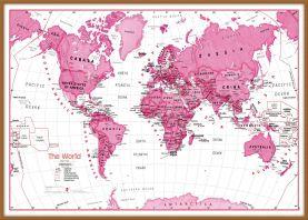 Large Children's Art Map of the World Pink (Wood Frame - Teak)