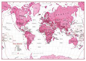 Medium Children's Art Map of the World Pink (Raster digital)