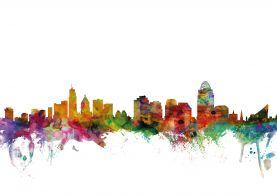 Cincinnati Ohio Watercolour Skyline