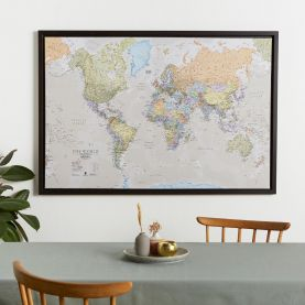 Large Classic World Map (Canvas Floater Frame - Black)