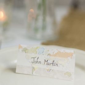Classic World Map Wedding Place Cards (Pack of 10)