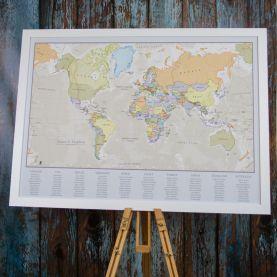 Classic World Map Wedding Table Plan