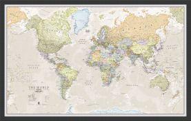 Medium Classic World Map (Wood Frame - Black)