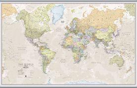 Large Classic World Map (Hanging bars)