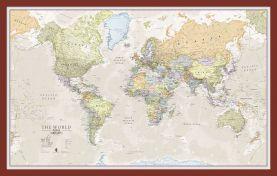 Small Classic World Map (Pinboard & framed - Dark Oak)