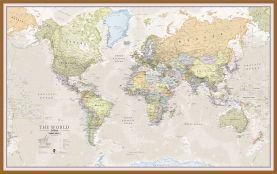 Large Classic World Map (Pinboard & wood frame - Teak)