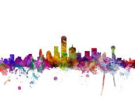 Dallas Watercolour Skyline