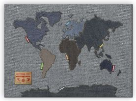 Large Denim Map of the World (Canvas)