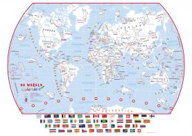 Doodle World Map With Crayons - Dutch Language (Paper)