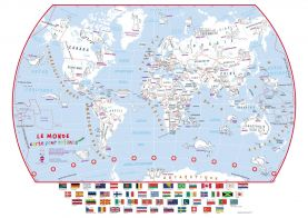 Doodle World Map With Crayons - French Language (Paper)