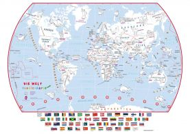 Doodle World Map With Crayons - German Language (Paper)
