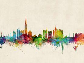 Dubai Watercolour Skyline