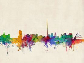 Dublin Ireland Watercolour Skyline