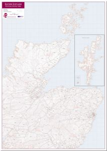 East Scotland (incl. Orkney and Shetlands) Postcode District Map (Pinboard)