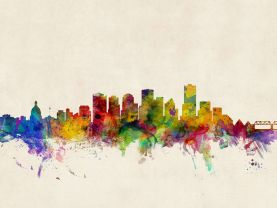Edmonton Canada Watercolour Skyline