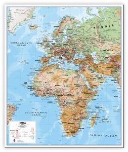 Europe Middle East Africa (EMEA) Physical Map (Canvas)