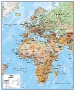 Europe Middle East Africa (EMEA) Physical Map