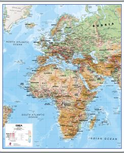 Europe Middle East Africa (EMEA) Physical Map (Rolled Canvas with Hanging Bars)