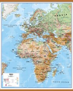 Europe Middle East Africa (EMEA) Physical Map (Rolled Canvas with Wooden Hanging Bars)