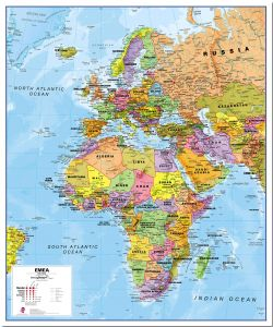 Europe Middle East Africa (EMEA) Political Map (Pinboard)