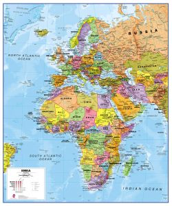 Europe Middle East Africa (EMEA) Political Map (Magnetic board and frame)