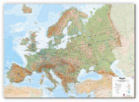 Large Europe Wall Map Physical (Canvas)