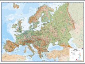 Large Europe Wall Map Physical (Hanging bars)