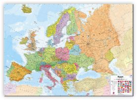 Large Europe Wall Map Political (Canvas)