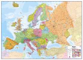Huge Europe Wall Map Political (Magnetic board and frame)