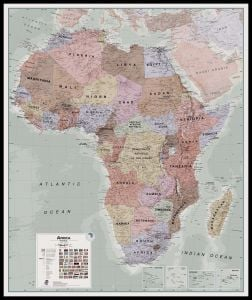 Large Executive Africa political Wall Map (Pinboard & framed - Black)