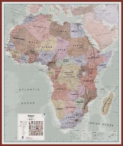 Large Executive Africa political Wall Map (Pinboard & framed - Dark Oak)