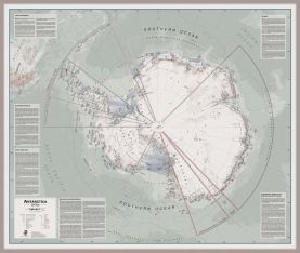 Large Executive Antarctica Wall Map Political (Pinboard & framed - Silver)