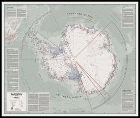 Large Executive Antarctica Wall Map Political (Pinboard & framed - Black)